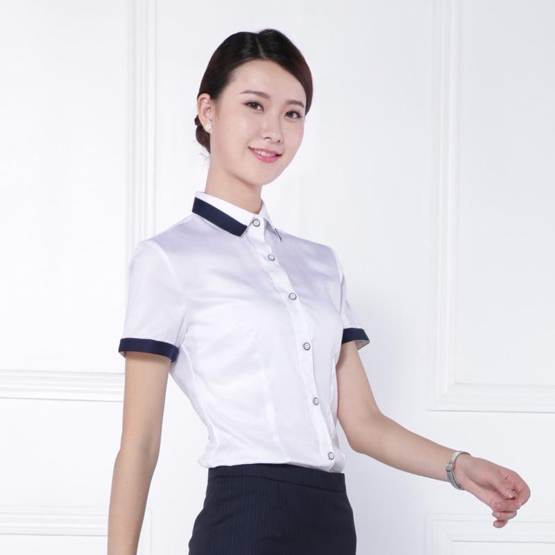 2017薄款女士短袖商务衬衫