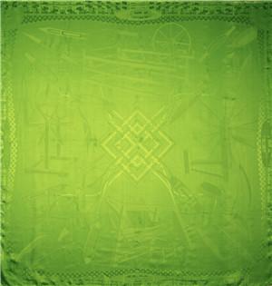 纺趣素色大提花披肩(翠绿)汪永亨丝绸