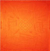 纺趣素色大提花披肩(橘红)汪永亨丝绸