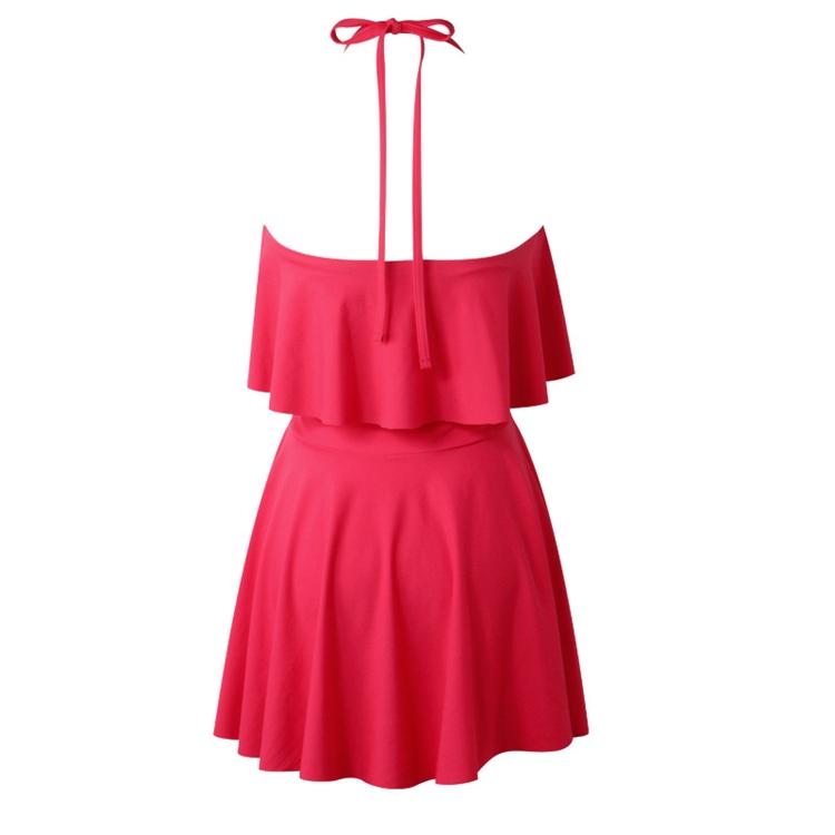 新款吊带可爱性感分体裙式泳衣花纹图案泳装批发一件代发