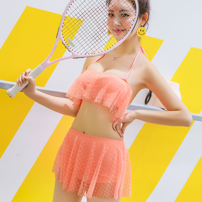 新款平角蕾丝可爱性感分体裙式泳衣大码泳装批发比基尼