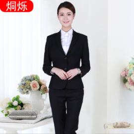 株洲职业装黑色长袖女式职业套装西服两件套批量定制