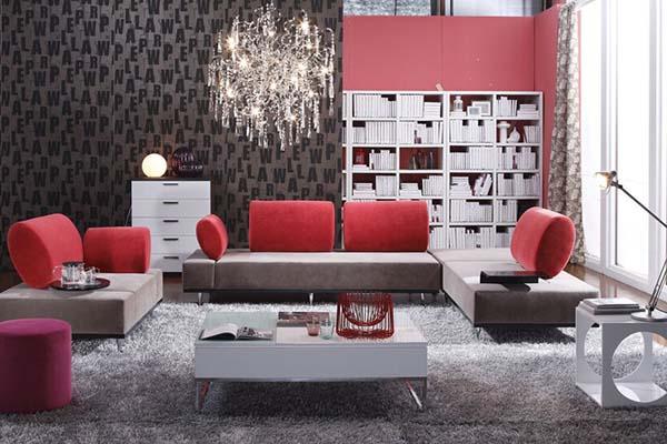 """布艺沙发新款客厅红色现代时尚风格OGAHOME欧嘉璐尼S5706B""""百变皇后"""""""