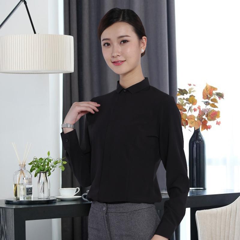 湖南职业套装批发长袖黑色女式衬衫工作服