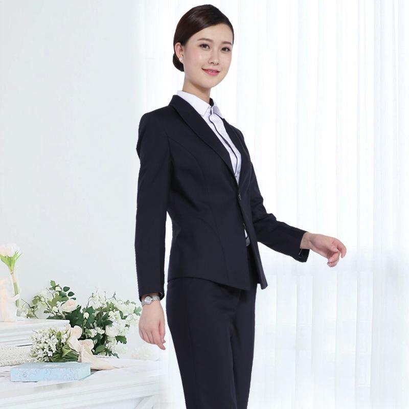 株洲职业装定制新款免烫女西服商务套装