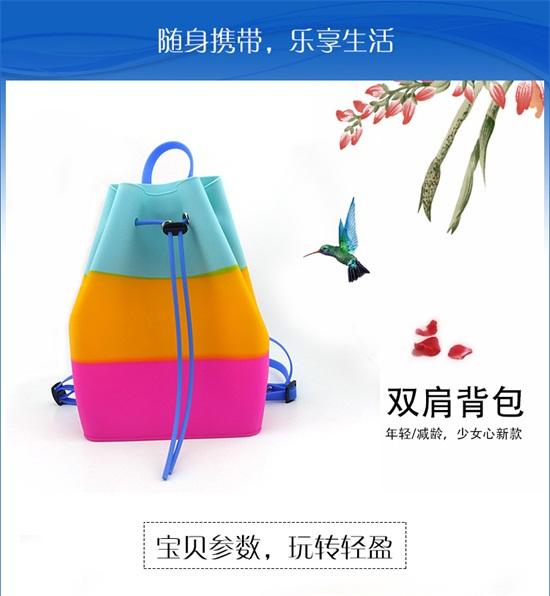 上海博高欧美风范女士箱包厂家,直销双肩小背包,时尚多彩硅胶双肩包