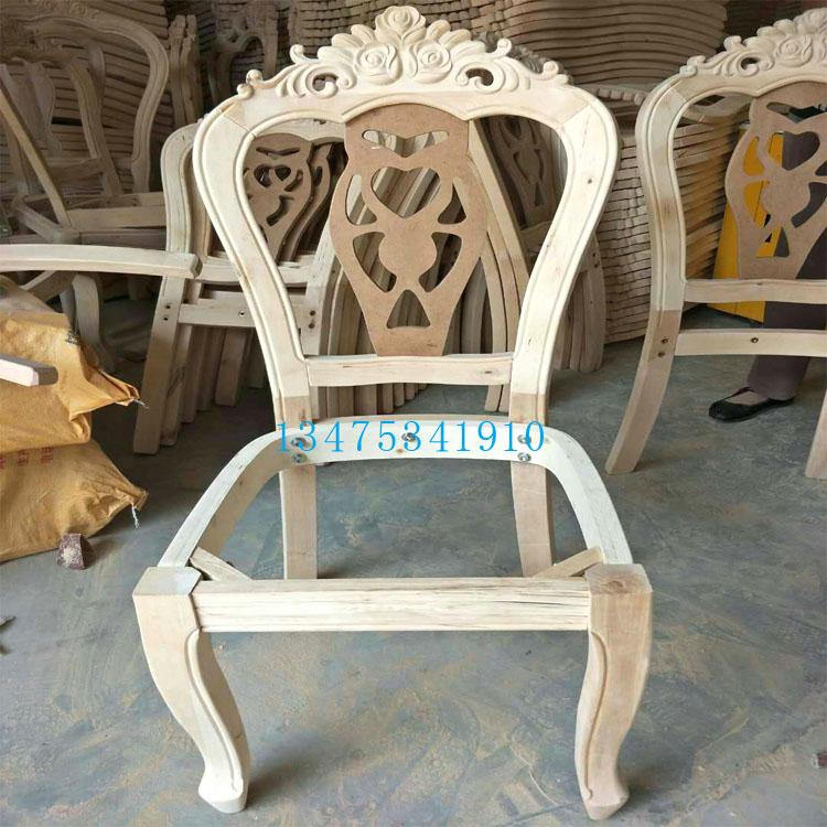 供应实木桌椅白茬欧式大花头椅三花靠背椅白茬商务酒店桌椅白茬网红店桌椅白茬
