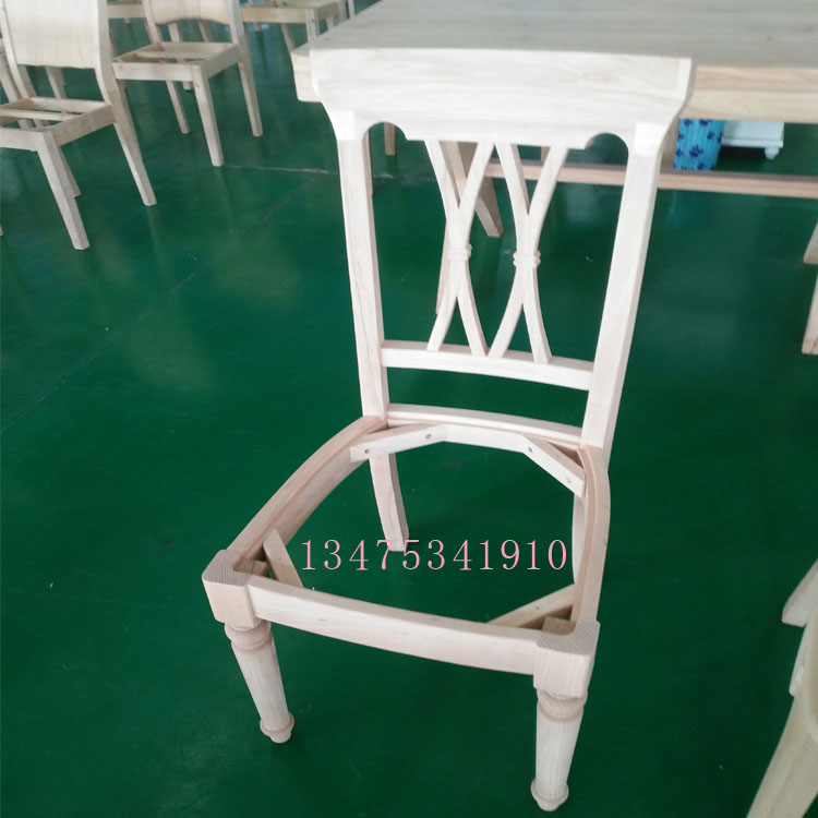 供应实木桌椅白茬美式双叉椅四条椅白茬酒店商务办公桌椅白茬面馆餐厅桌椅白茬