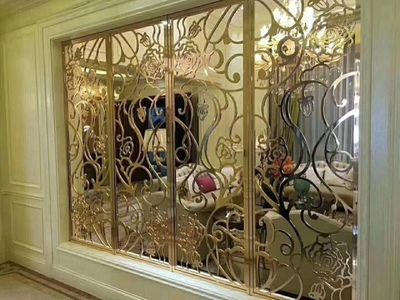 金筑达玫瑰金不锈钢屏风   镜面不锈钢花格屏风