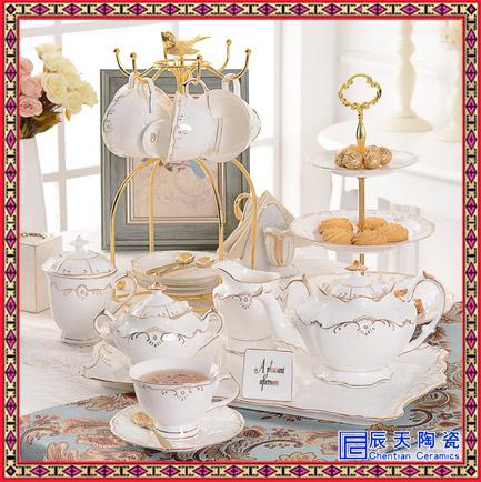 大理石纹陶瓷咖啡杯碟套装欧式小奢华金边创意家用下午茶具情侣杯