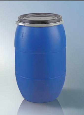 200公斤铁箍桶200L开口塑料桶200升蓝色化工包装桶