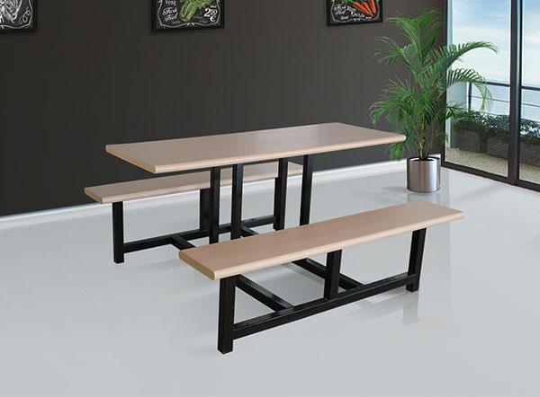 长春美食城餐桌钢木餐桌只选哈中信生产