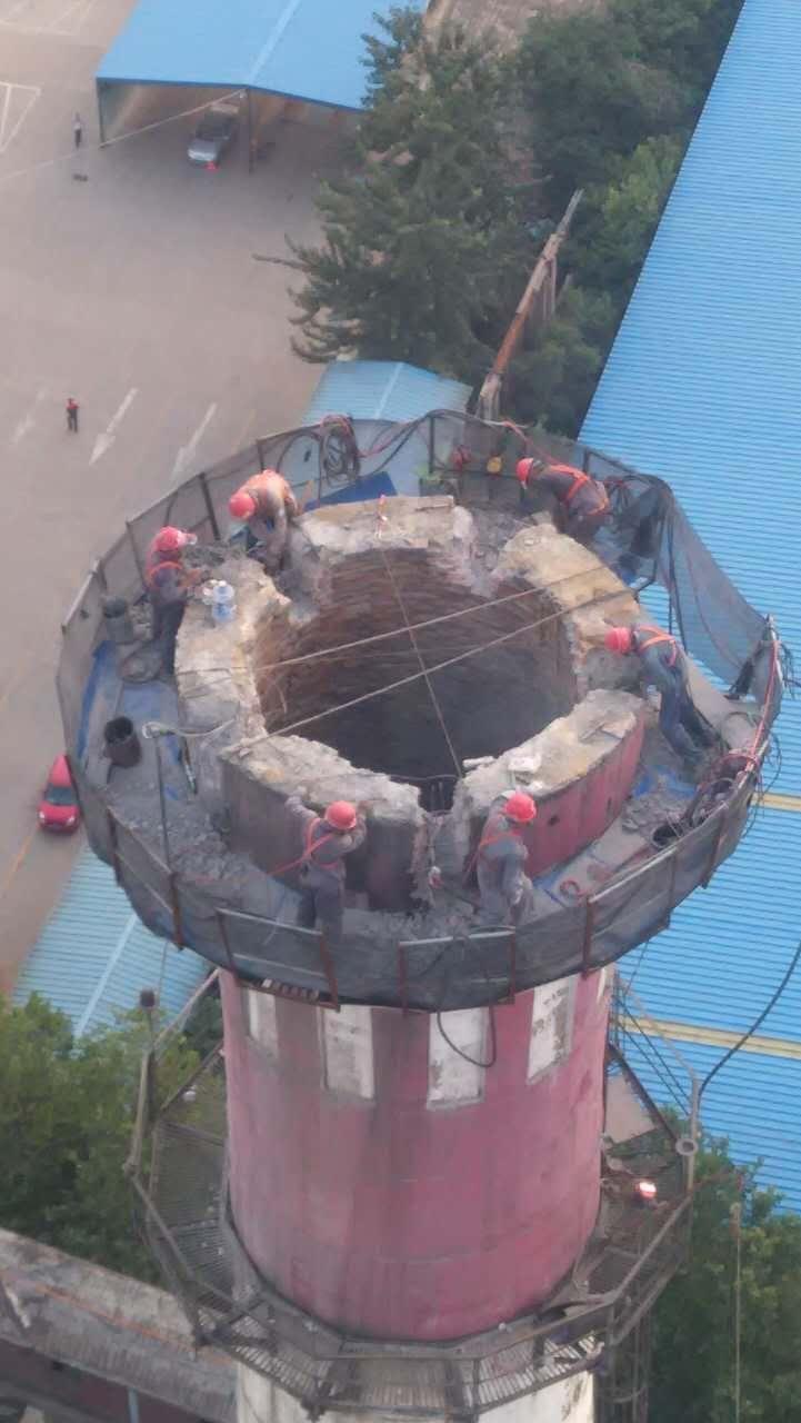 潮州钢铁厂烟囱拆除公司、烟囱防腐单位欢迎指导