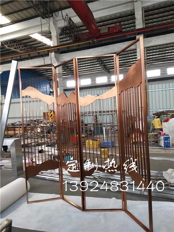 深圳别墅定制折叠式不锈钢屏风隔断可装可卸玫瑰金隔断墙