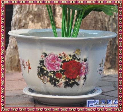 简约大号陶瓷花钵批发 中国风青花瓷多肉植物种植花钵大号种树盆