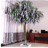 仿真绿植大型紫藤树装饰树许愿树酒店摆放风水树实木仿真榕树植物