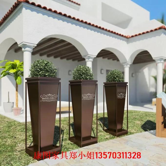 别墅庭院铁艺花箱 大型铁艺种植花槽 铁艺花箱图片