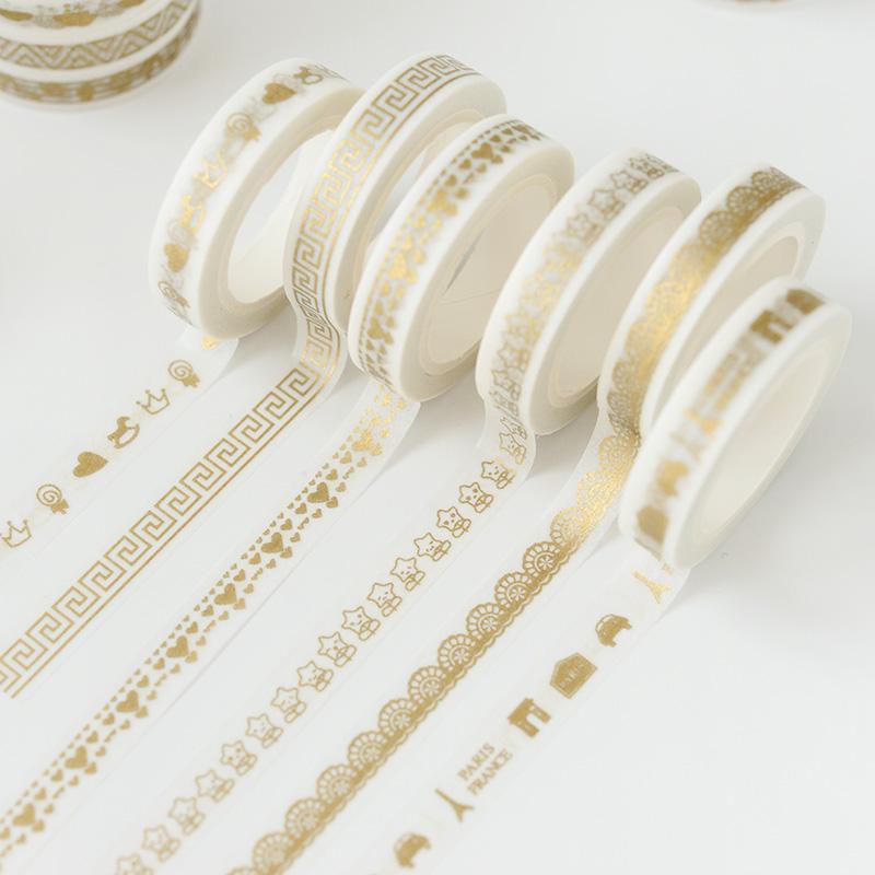 来图定制小清新纯烫金手工DIY装饰手帐胶带