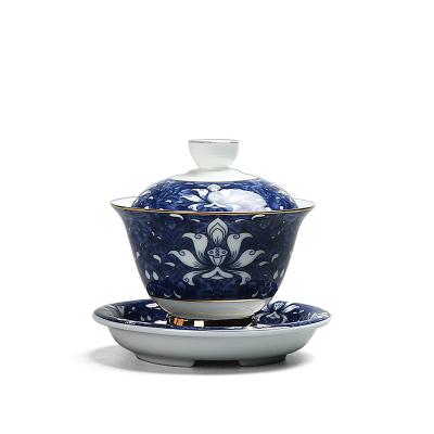 青花瓷盖碗陶瓷冲茶器 釉中彩三才盖碗泡茶碗茶备品茶杯喝茶碗