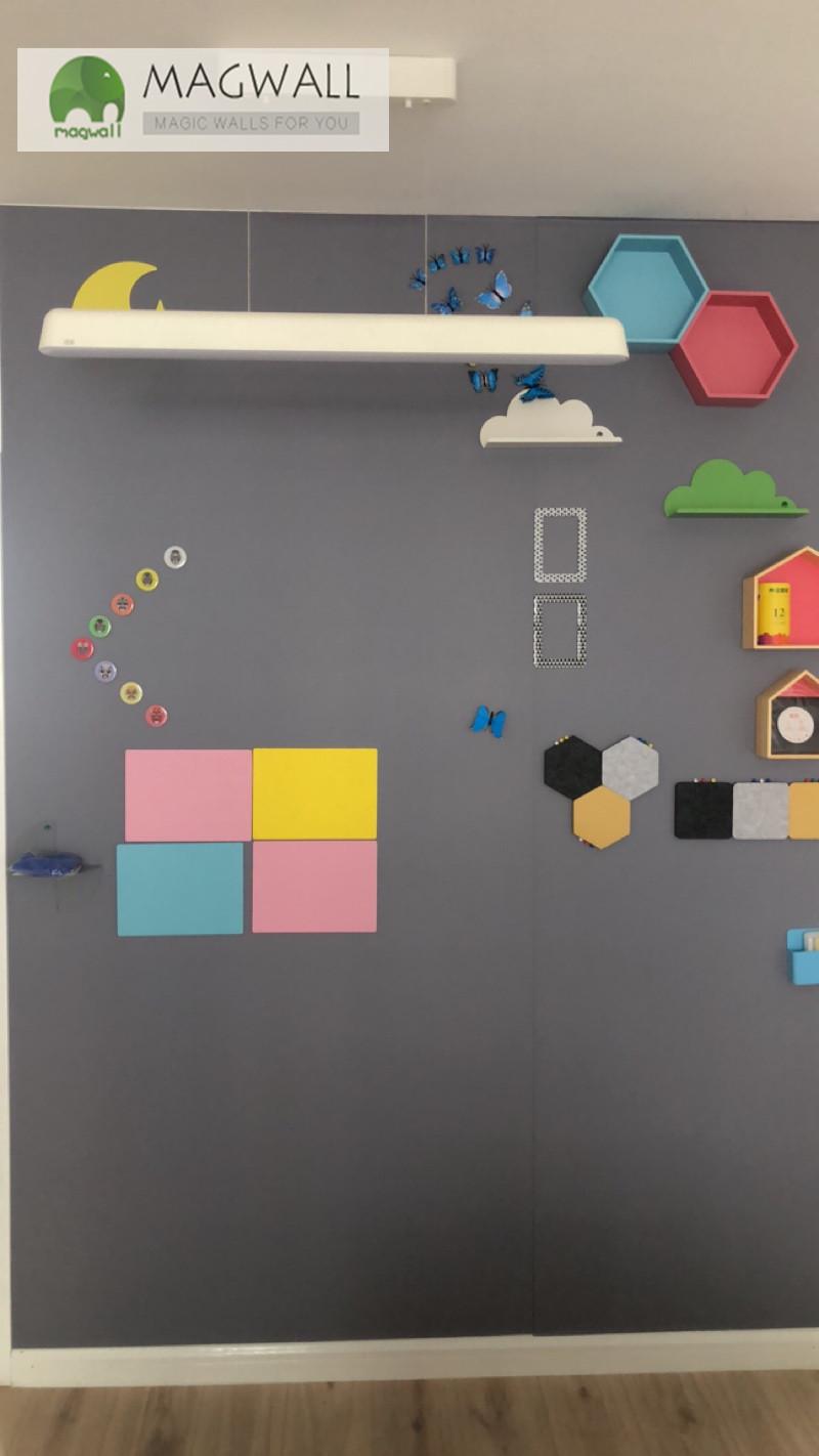 磁善家定制无尘环保易擦洗磁性黑板墙 灰色软黑板