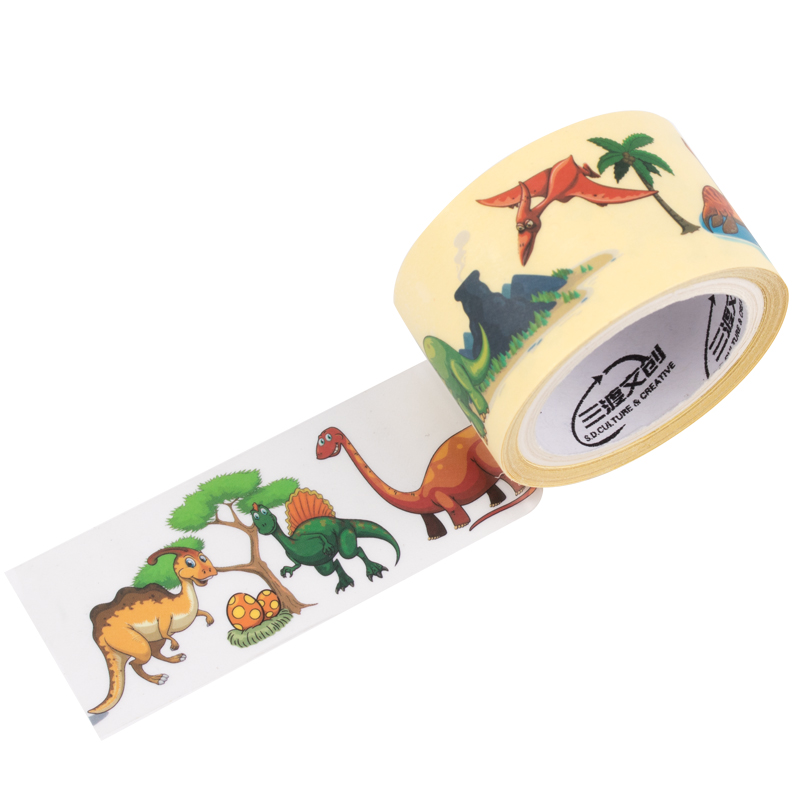 来图定制PET哑光侏罗纪、动物世界彩色手帐素材胶带