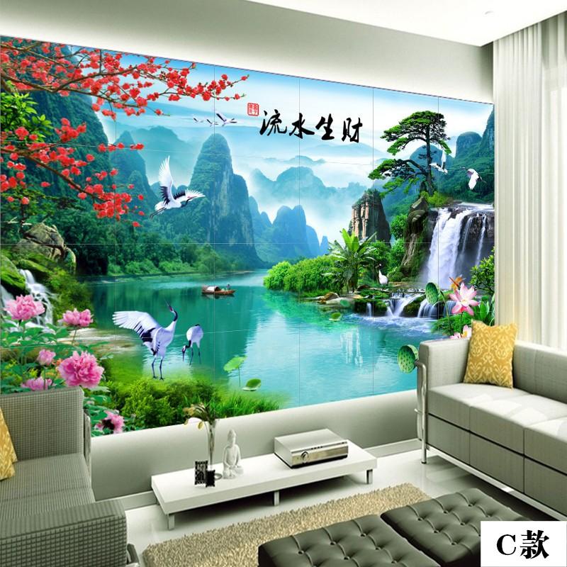 陶瓷定制庭院瓷磚影壁墻牡丹花開富貴壁畫 百福圖山水風景畫