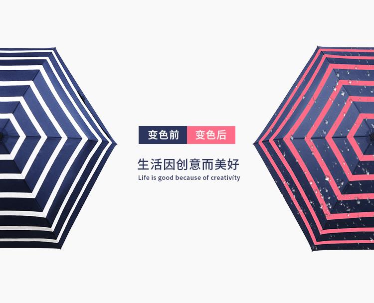 定制款三折遇水变色全自动雨伞 折叠雨伞定制logo礼品 广告晴雨伞