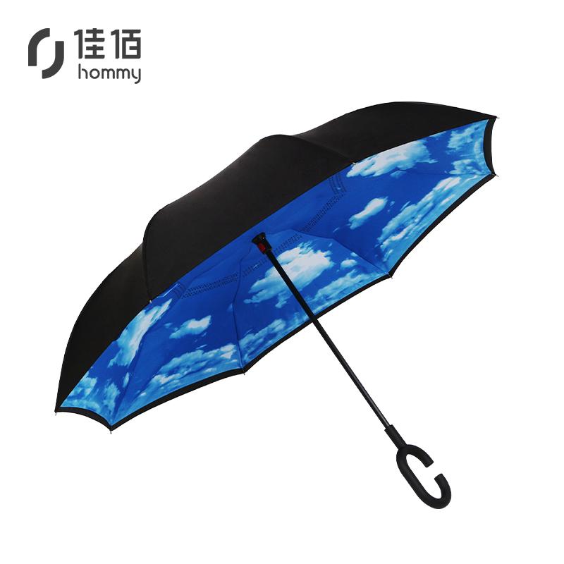 manbetx登陆直销C型手动开伞双层汽车伞 创意反向雨伞定制一件代发反向伞
