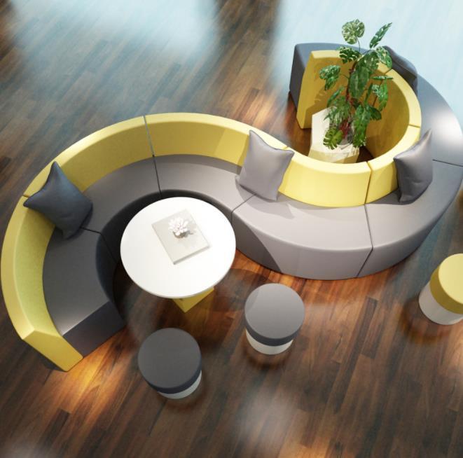 弧形异型沙发定做,商场餐厅创意S型沙发,大堂接待休息区沙发制manbetx登陆
