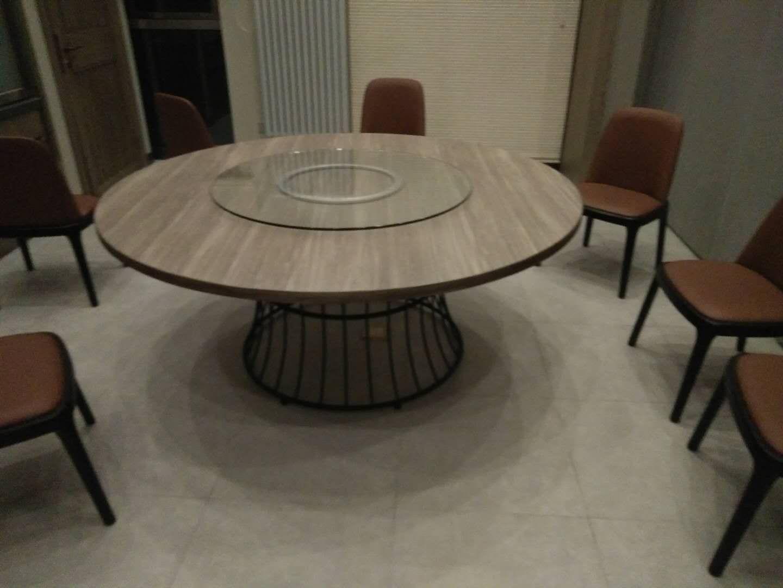 现代中式实木餐桌椅,1.5米圆形餐桌,包房大圆桌定做