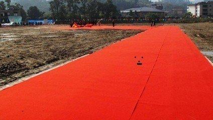 山东批发红黄蓝绿紫色地毯/加厚拉绒/一次性地毯厂家