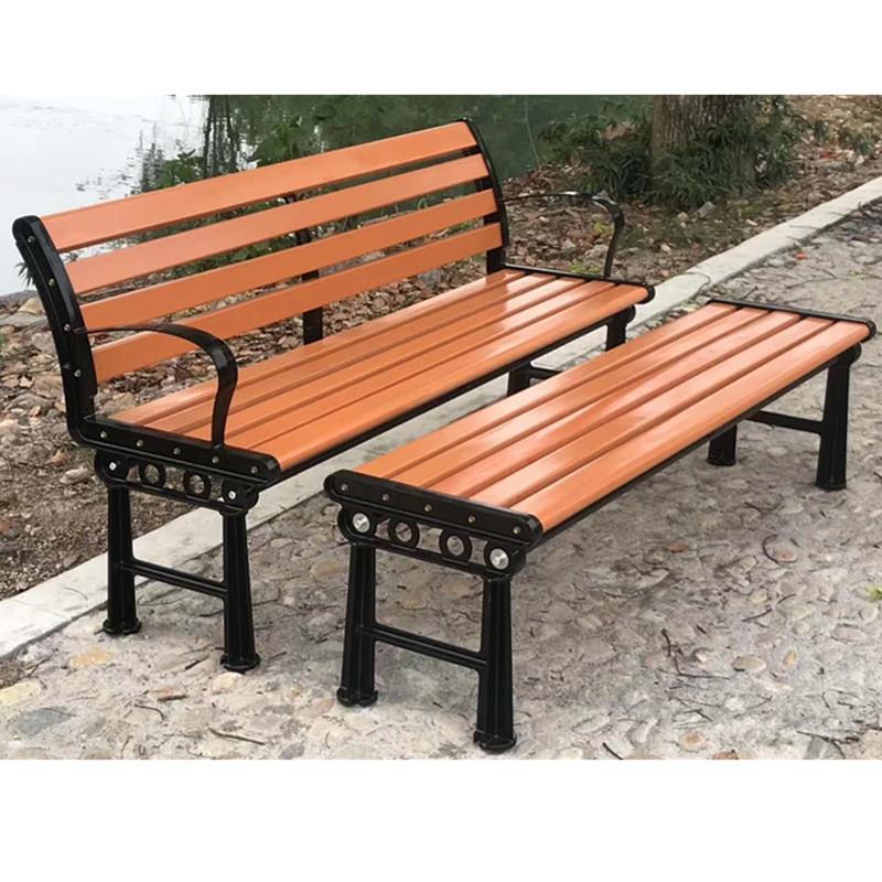 定制批发园林排椅有无靠背木质休闲座椅