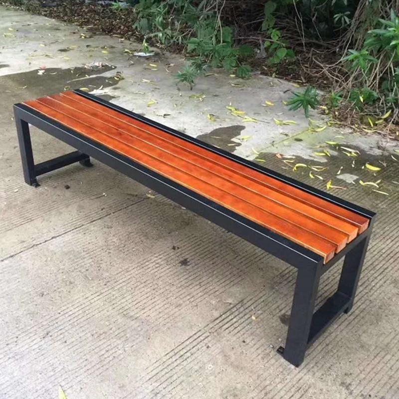 大量批发路椅铸铝防腐木长条椅平凳