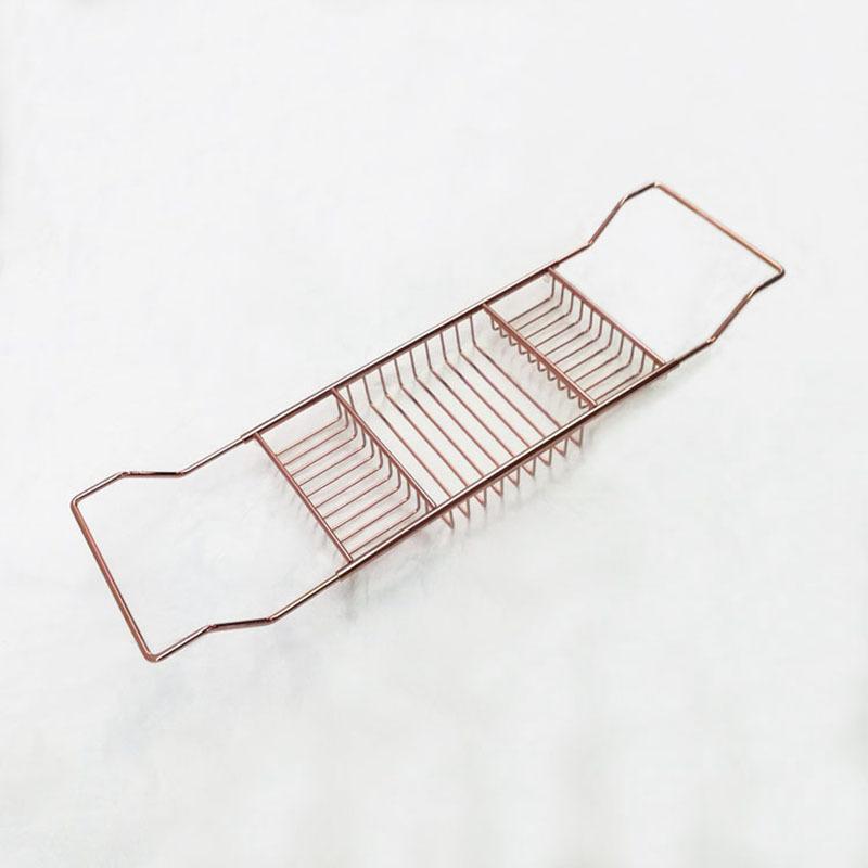 大赢家棋牌浴室玫瑰金浴缸架可伸缩防滑出有锈钢浴缸泡澡置物架泡澡支纳架