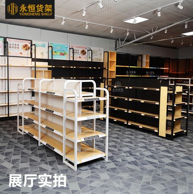 广州永恒货架厂直销便利店货架超市日用品散货零食单面金属背板钢木展架定制