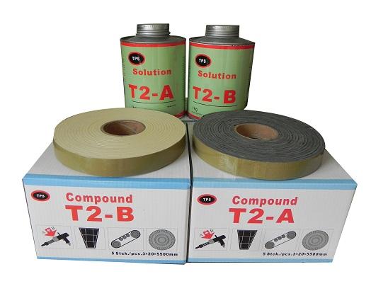 t2复合胶ab输送带快速修补及滚筒包胶橡胶板封口t2胶枪施工胶料德普斯威TPS复合胶ab
