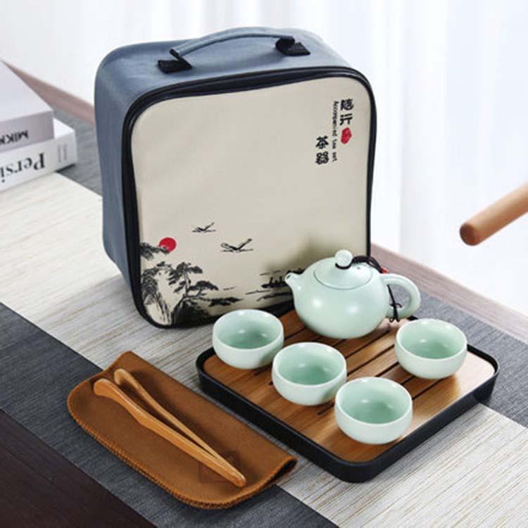 定窑亚光旅行茶具一壶四杯 可定制logo印广告茶具礼品套装