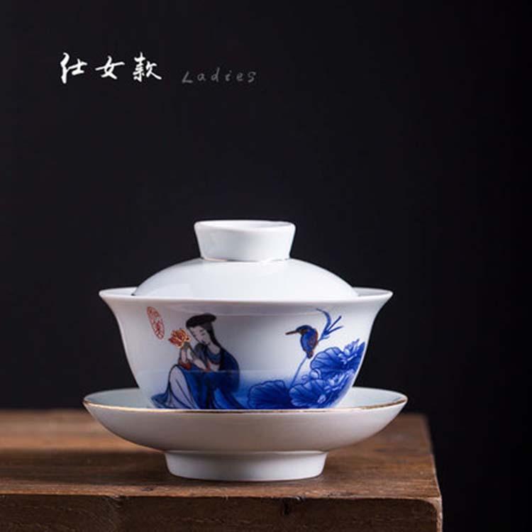 景德镇陶瓷青花荷花茶碗 白瓷三才碗手抓壶 大号功夫茶具