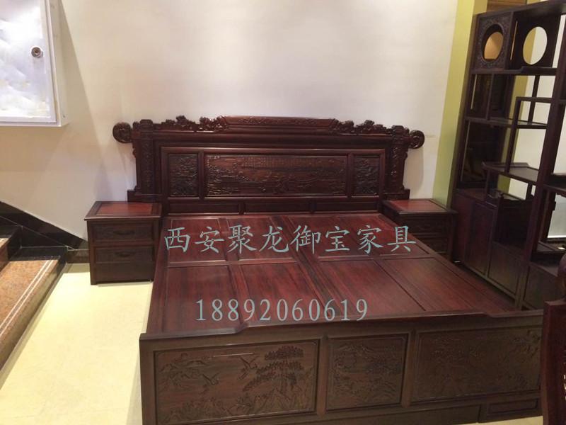 中式实木床价格-实木床双人床-仿古木床厂家-老榆木中式床