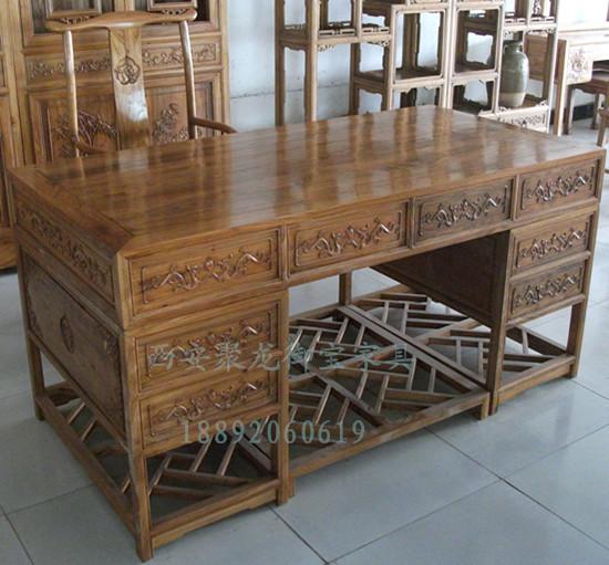 仿古办公桌_西安中式实木书桌_中式老板办公桌厂家