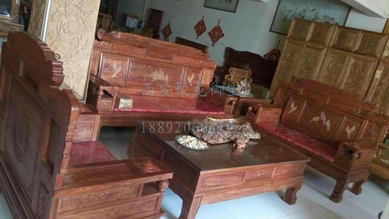 实木沙发加工厂-客厅实木沙发-中式红木六件套沙发-仿古老榆木沙发