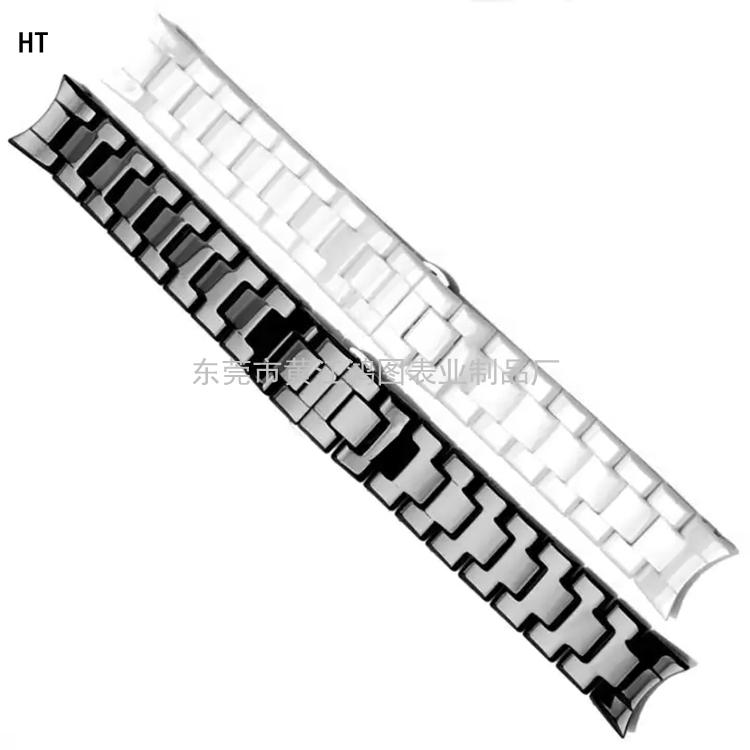 东莞鸿图弧口陶瓷表带22mm表带加工