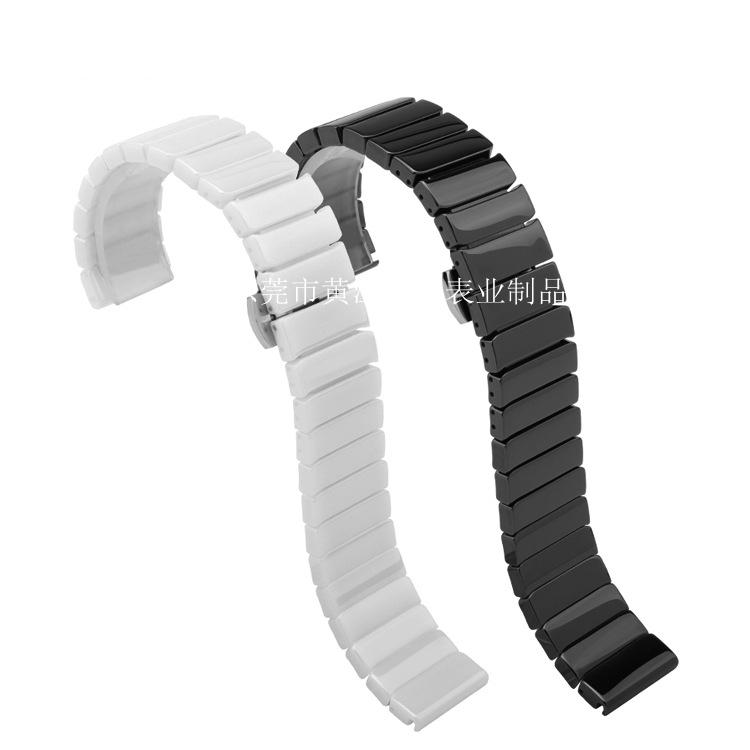 适配苹果iwatch陶瓷表带 22mm纯陶瓷黑白色表带加工