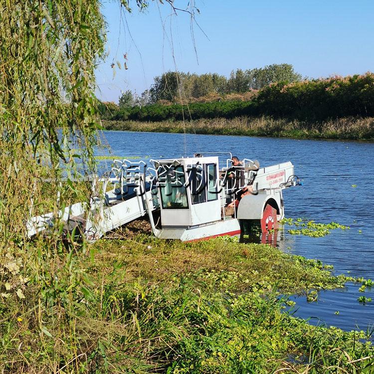 河北水面水生植物收割船 清洁水莲水草收割船 槐叶萍水草收割船