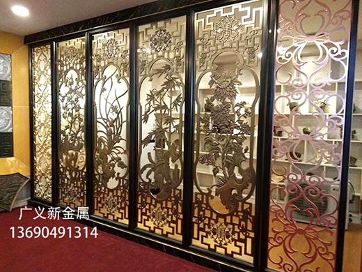 客厅拉丝玫瑰金不锈钢屏风定制门厅金属屏风隔断生产厂家