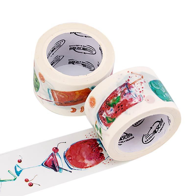来图定制原创夏日么么茶、特油白墨文创纸胶带
