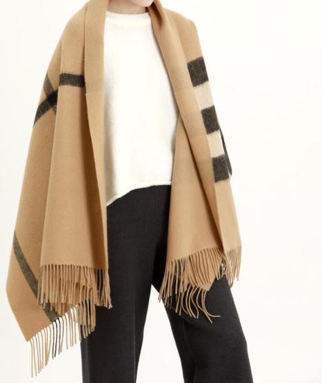 秋冬围巾格子图案羊毛双面U型流苏款大披肩