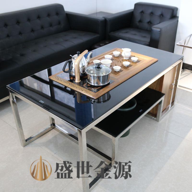 办公不锈钢茶台 方形不锈钢茶几架