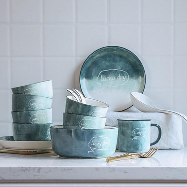 陶瓷碗碟套装 家用轻奢北欧 简约碗筷饭碗盘子 高颜值餐具