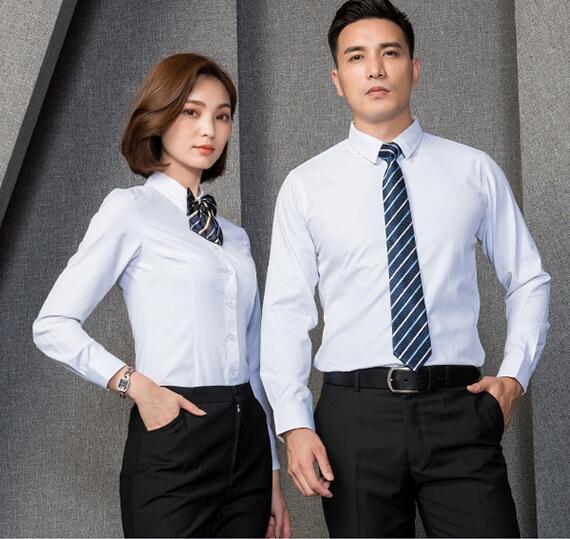 海珠区工装长袖衬衫定做、金融免烫刺绣衬衣订制、纯白衬衫现货批发